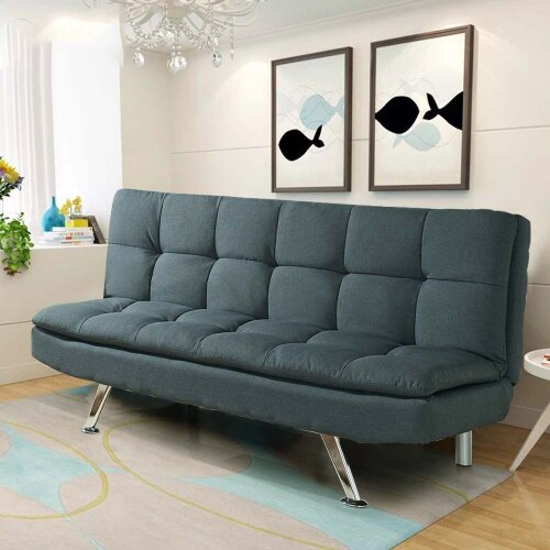 (Charcoal ) Padded Sofa Bed Fabric 3 Seater Sofbed Suite