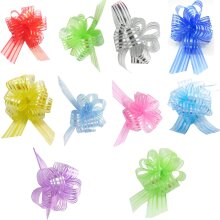 Large & Small Organza Pom Pom Pull Bows various Colours and Pack Sizes