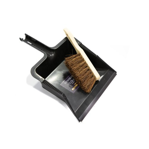 Newman and Cole Large Garden Dustpan and Brush Set - Outdoor Dust Pan Scoop with Stiff Hand Brush