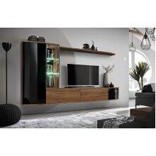 Curved TV Entertainment Furniture Set Dark Oak & Black Gloss LED Light