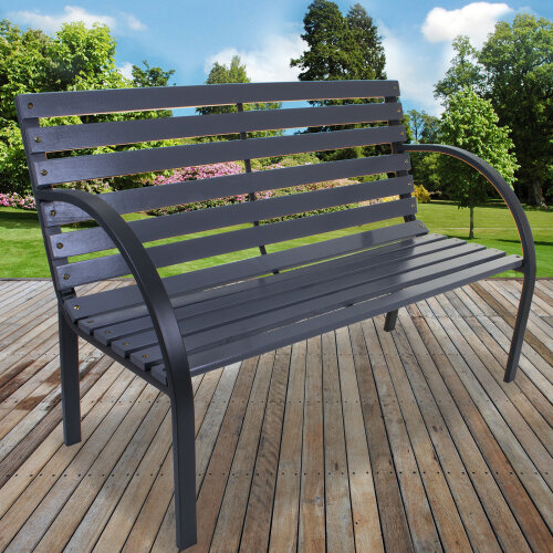 (Slatted Wooden Bench - Grey) Garden Metal Wood Bench Outdoor Seating Cast Iron Rustic Patio 2 3 Seat Cushion