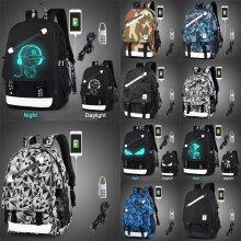 Anti-theft Luminous USB School Shoulder Bag Backpack