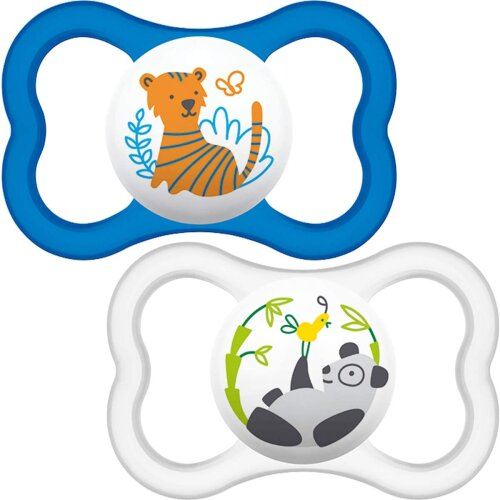 MAM Air Soothers 6+ Months (Pack of 2), Baby Soothers with Sterilisable Travel Case, Baby Essentials, Blue / White (Designs May Vary)