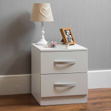 Hulio 2 Drawer Bedside Chest Gloss Bedroom Storage