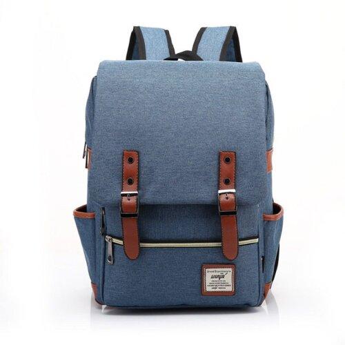 (Blue) Canvas Leather Travel Backpack Laptop Rucksack