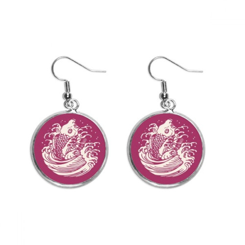 Red Painting Japanese Culture Fish Ear Dangle Silver Drop Earring Jewelry Woman