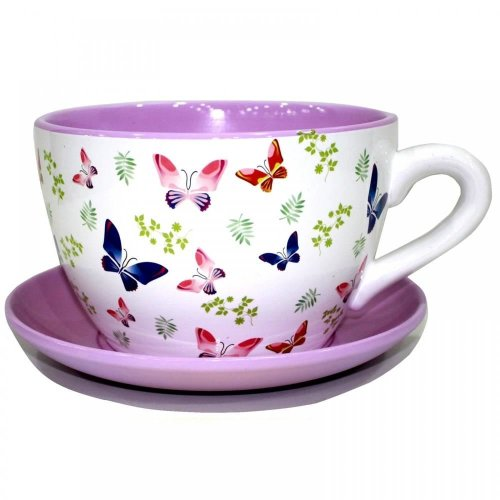 TERRACOTTA TEA CUP AND SAUCER SHAPED GARDEN PATIO FLOWER PLANTER PLANT POT TUB[Large Butterfly Butterflies]