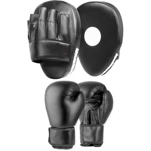 Focus Pads Jab & Hook Boxing Sparring Punching Gloves Mitts Set 10oz