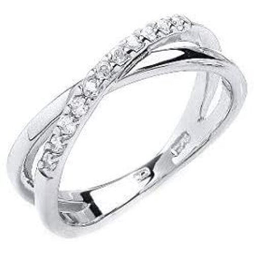 (L) Crossover Ring Eternity Ring Sterling Silver Anniversary Ring Platinum Plated