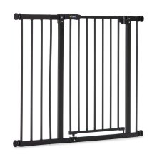 Safety Gate for Doors and Stairs Close N Stop incl. 21 cm Extension / Pressure Fit / 96 - 101 cm Large / Metal / Charcoal Black