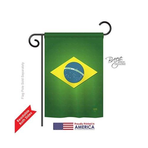 Breeze Decor 58090 Brazil 2-Sided Impression Garden Flag - 13 x 18.5 in.