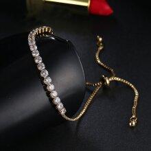 Gold Crystal Adjustable Rope Tennis Bracelet