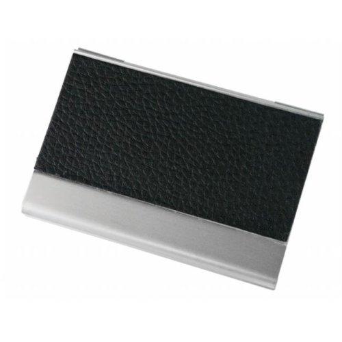 Visol V654B Black Leather & Aluminium Business Card Holder