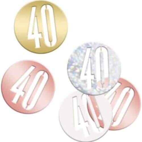 Rose Gold Glitz 40 40th Birthday Table Confetti 14g
