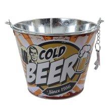 Yellow Ice Beer Bucket With Bottle Opener Metal Wine Beer Champagne Drink Cooler