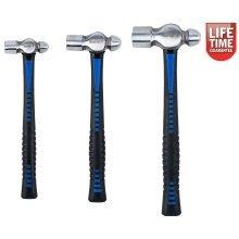 BlueSpot 3pc Ball Pein Hammer Set | 8oz, 16oz & 32oz TPR Handle Hammers