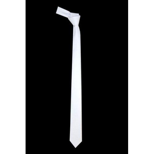 Adult Satin Plain White Slim Neck Tie