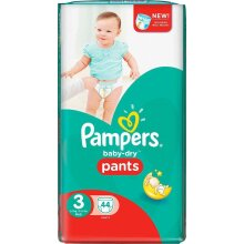 Pampers Baby-Dry 44 Nappy Pants Easy to Change, 6 - 11 kg, Size 3
