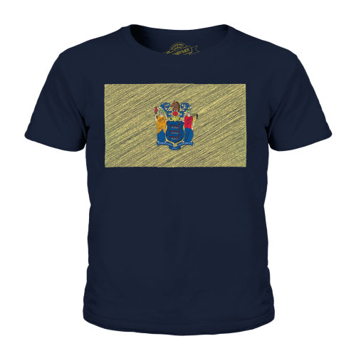 Candymix - New Jersey State Scribble Flag - Unisex Kid's T-Shirt