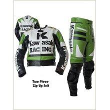 KAWASAKI Bike Racing Suit Cowhide Leather Motorcycle Motorbike Racing Sports Two 2 Piece Zip Up Suit (Jacket+Trouser) Green Orange Grey / White Black