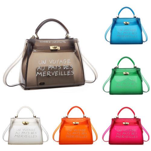 Miss Lulu Women Clear Transparent PVC Shoulder Bag Handbag Solid Candy Color Jelly Bags