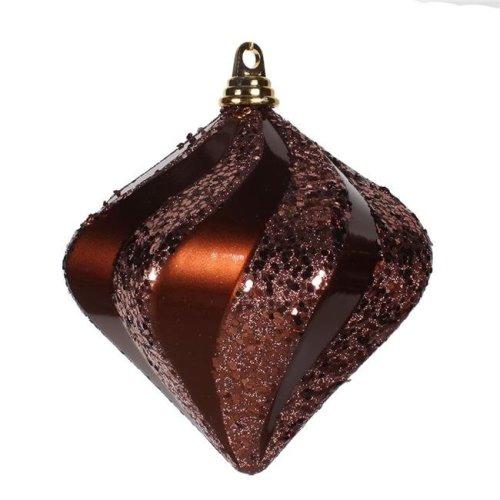 Vickerman M133319 Chocolate Candy Glitter Swirl Diamond Ornament, 8 in.
