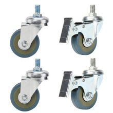 50mm M10 Threaded Castor Wheels Trolley Swivel Unbraked Non-Marking Caster x 4