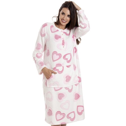 Camille Pink And White Heart Print Supersoft Fleece Lounger