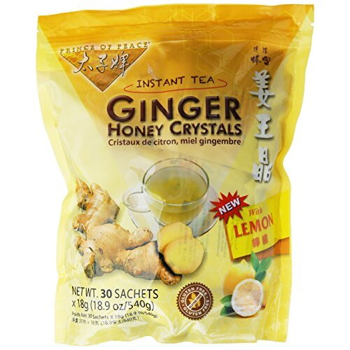PRINCE OF PEACE Ginger Honey Crystals withlemon 30 Sachets Bag, 18.9 oz