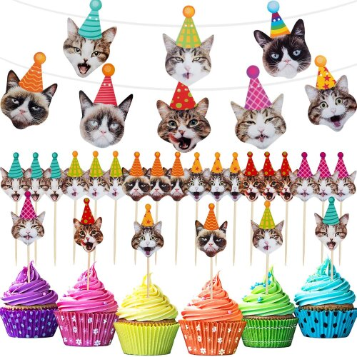 25 Pieces Cat Party Decorations, Includes Cat Faces Banner and 24 Pieces Cat Cupcake Toppers for Cat Theme Birthday Party