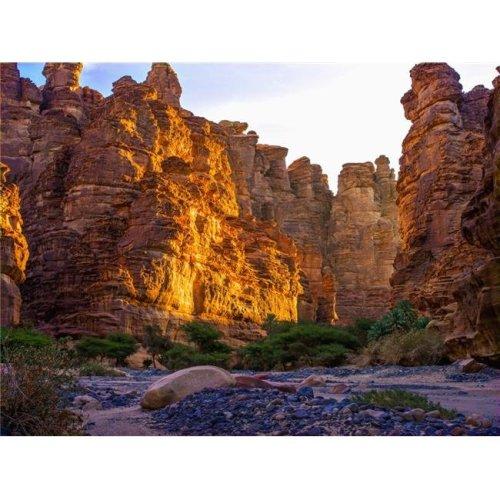 Rock Cliffs & Valley Near Tabuk - Saudi Arabia Poster Print - 17 x 13 in.