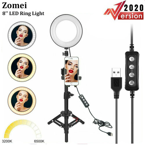Zomei 8'' LED Ring Light with Tripod Stand & Cell Phone Holder