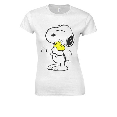 (Medium, White) Snoopy PEANUTS Cartoon Happy Cute White Women T Shirt Top