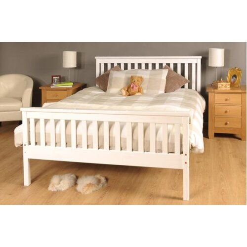 (4ft6 Double, White) Talsi Wooden Bed Frame with Ivy Mattress