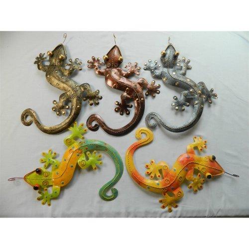Metal Gecko Garden Wall Art - Set of 2 Ornaments