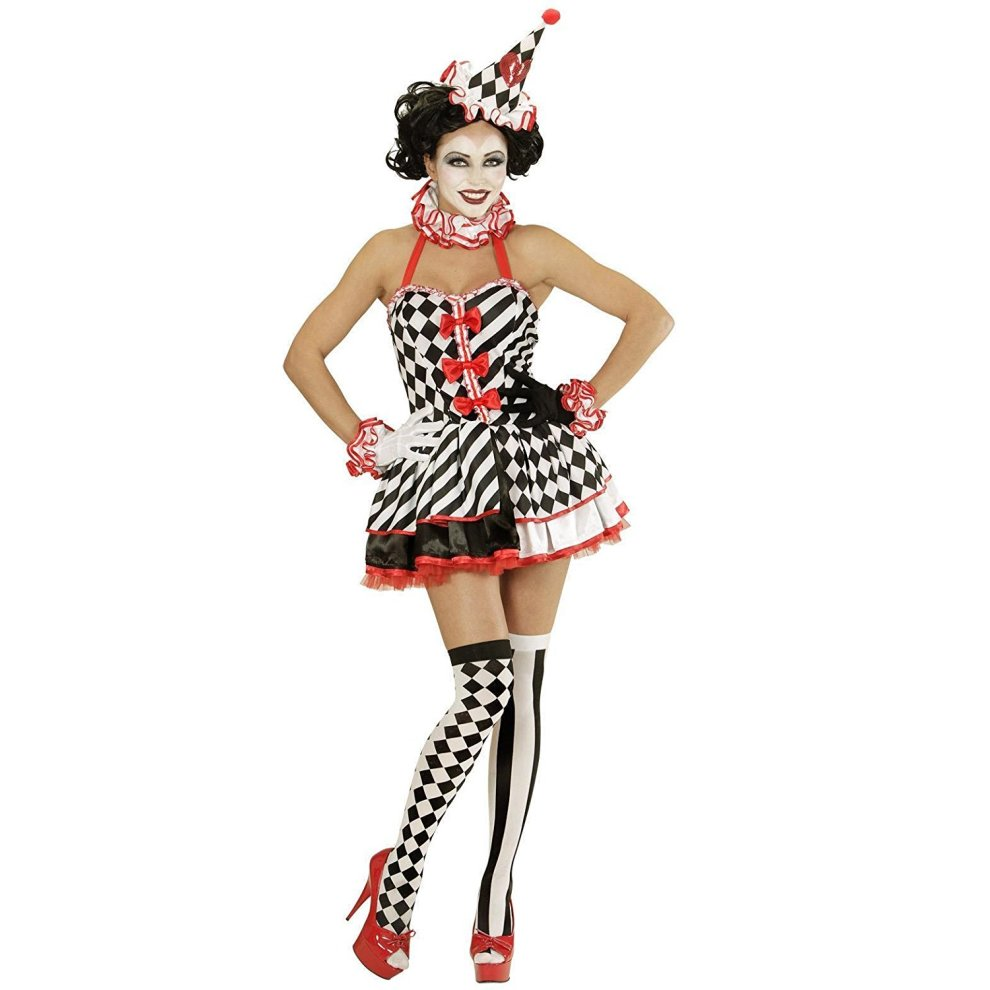 Circus-PIERROT BLACK /& WHITE CLOWN Deluxe Unisex Costume  All Sizes /& Childs