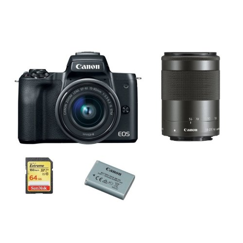 CANON M50 Black KIT 15-45mm + 55-200mm + 64GB SD card + LP-E12