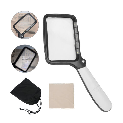 Magnify Glass With 5 LED Folding Magnifying Light Portable Rectangle