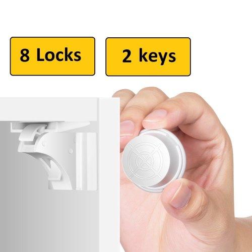 Keep Safe Invisible Magnetic Safety Lock 8 Child Proof DoorDrawer Locks 2 Keys