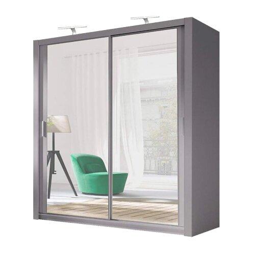 (Grey, 203cm) German Sliding Wardrobes Milan Mirrored Bedroom Sliding Wardrobe