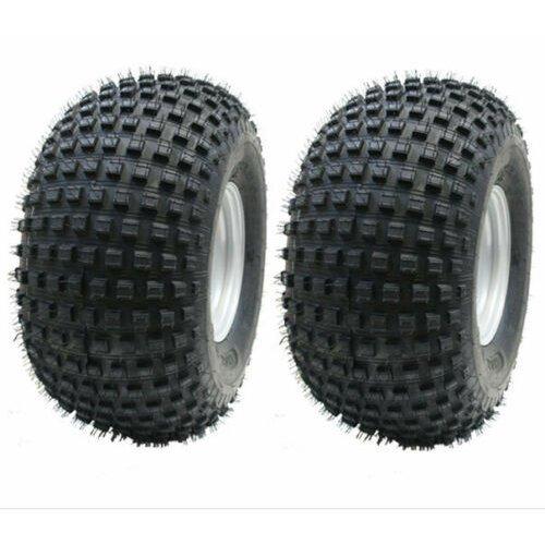 22x11.00-8 knobby tyres on 4 stud rim, quad wheel 100mm PCD - set of 2