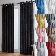 Crushed Velvet Fully Lined Eyelet Curtains