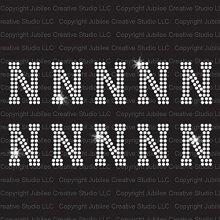 N - Athletic Jersey Letter Sheets Iron On Rhinestone Crystal Transfer by Jubilee Rhinestones