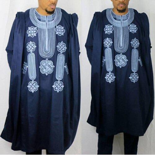 (Black, L) African Suit For Men Robes