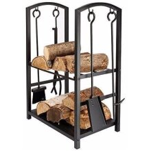 Large Fireplace Log Rack 4 Tools Indoor Outdoor Fireside Firewood Hold