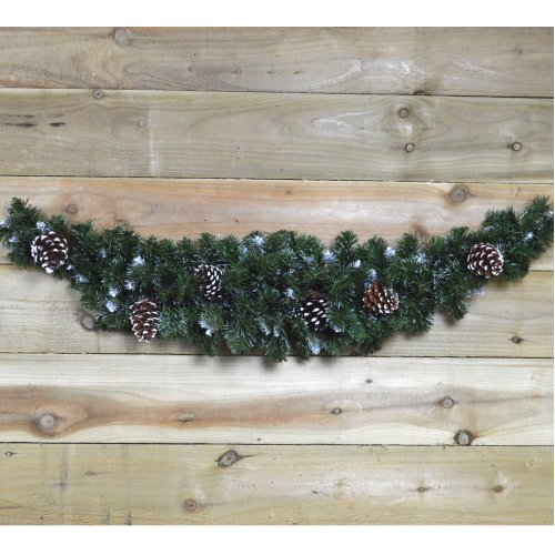 90cm Snow King Fir Christmas Swag Garland with Pine Cones & Snow Tips
