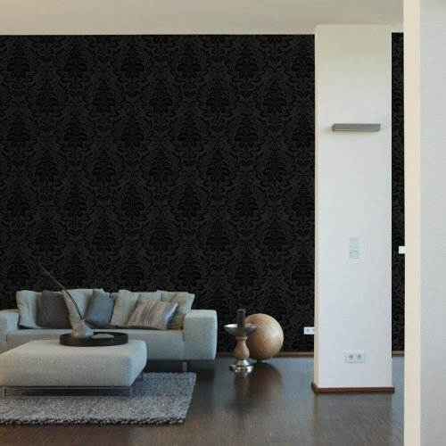 AS Creation Flock Floral Damask Pattern Modern Metallic Embossed Leaf Motif Roll Wallpaper [BLACK 255426]
