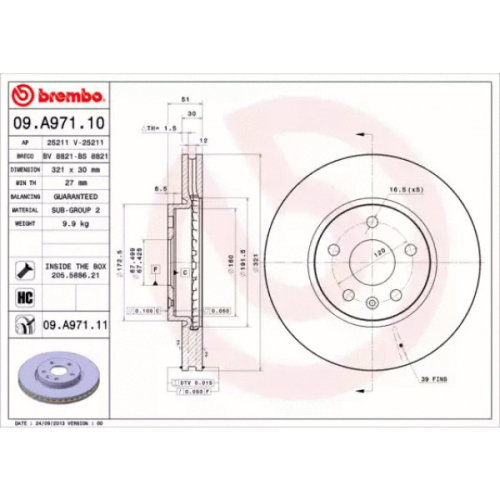 Front Pair (2x) of Brake Disc BREMBO 09.A971.11
