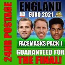 ENGLAND EURO 2021 CELEBRITY FACE MASK PACK 1 KANE, RASHFORD, SOUTHGATE