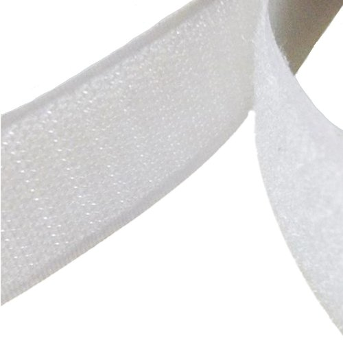 2.5 Metre White Self-Adhesive Hook and Loop Fastener Tape Strips - By TRIXES